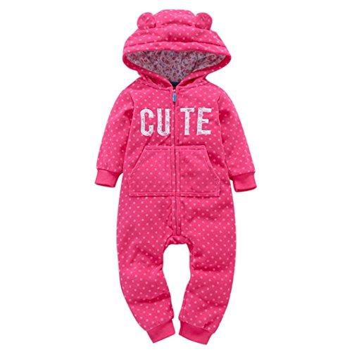 Longra Baby Jungen Mädchen Strampler Herbst Langarm Camouflage Dicker-Druck Jumpsuit Kapuzenpullover Overall Baby Unisex Kleidung(0-24Monate) (65CM 6Monate, Hot pink)