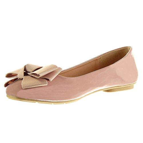 Angkorly - Chaussures Femme Mode Slip-on Femme Noeud Talon Talon Plat 1 Cm Rose