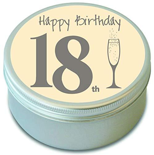 Duftkerze in Dose zum 18. Geburtstag, Duft: Pomgranate Rouge (Granatapfel), Brenndauer = 20 Std. - Granatapfel Kerze Duft