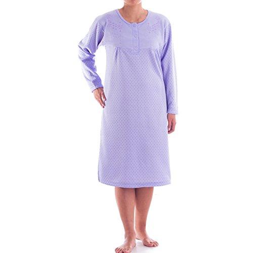 Romesa Thermo Nachthemd -mit Punkten und Stickerei, - Thermo Nachthemd Langarm