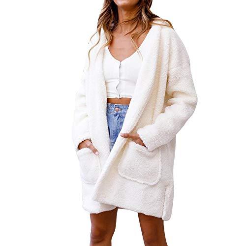 TWBB Damen Coat Frauen Winter Mantel Mit Kapuze Warm Faux Fur Outwear Einfarbig Dicker warm Jacke Pullover