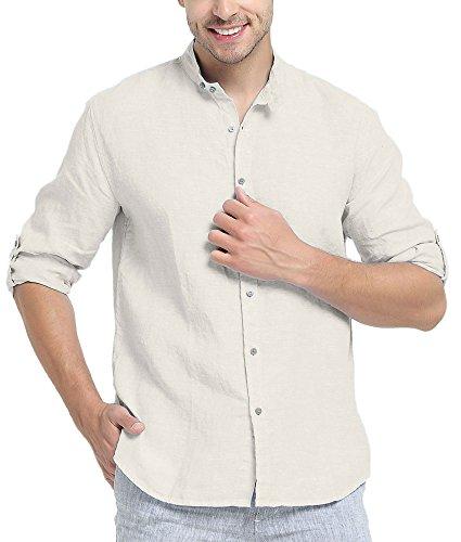 Najia symbol camicia di 100% lino collo alla coreana manica lunga spiaggia estiva uomo (naturale, m)