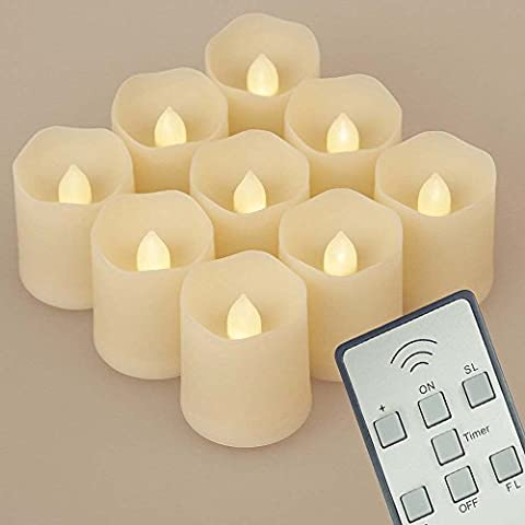 ShareMoon 9stk LED Kerzen 3 Modi Dimmbare Teelichter LED Votive Weihnachtskerzen für Weihnachtsbaum, Weihnachtsdeko, Hochzeit, Geburtstags, Party