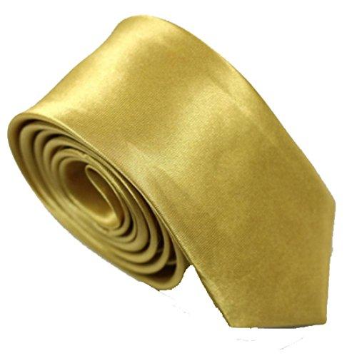 schmale dünne KRAWATTE Business Slim Tie Schlips schmal (gold)