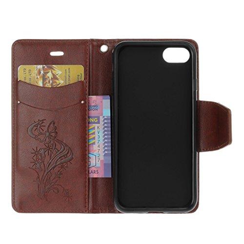 iPhone 7 Hülle, iPhone 7 Case - Felfy Bookstyle Ledertasche Luxus Premium Flip Folio PU Leder Taschen-Art Kreative übersichtliches Design Geprägte Fliegen Löwenzahn mit Strass Glitter Bling Fall Schut Schmetterling Braun