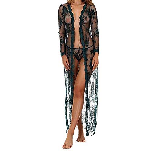 COUXILY Damen Sexy Dessous Spitze Negligee Kurz Kimono Robe Set Nachtwäsche mit Gürtel und G-String Bikini Cover up