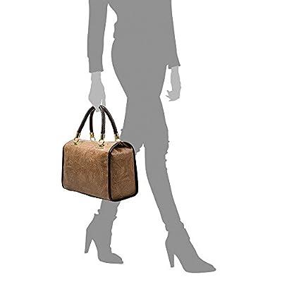 FIRENZE ARTEGIANI. Catena Bolso Tote Mujer.Piel auténtica Gamuza Pitón .Made in Italy. Vera Pelle Italiana.31x16x26 cm