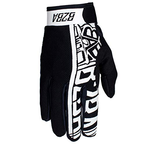 B2BA Clothing RACEWEAR leichte Handschuhe Mountain Bike Downhill Enduro Motocross Freeride DH MX MTB BMX Quad Cross, schnelltrocknend, rutschfest und atmungsaktiv, Farbe Weiß Schwarz, Größe S