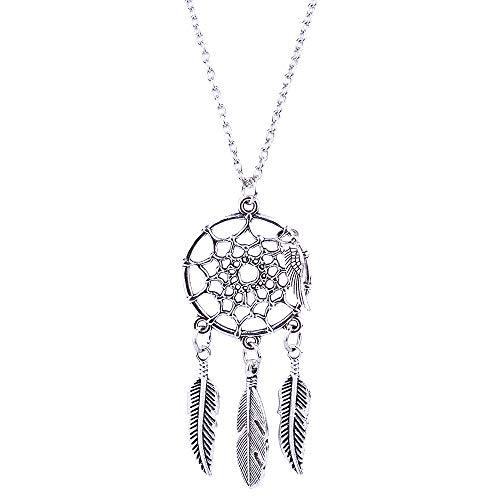 SMILEQ Ethnische Art Strickjacke Kettenrand Feder Lange Art Traumfänger Halskette (Silber)