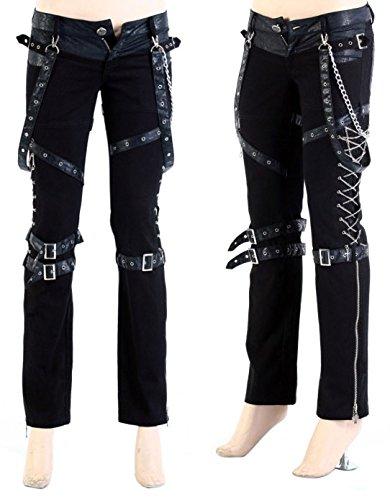 Pantaloni con bretelle, colore: nero e a catena a lacci K-125 punk rave nero XL