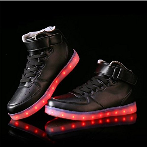 [Presente:piccolo asciugamano]JUNGLEST® Unisex High Top LED lampeggiante scarpe da ginnasti c12