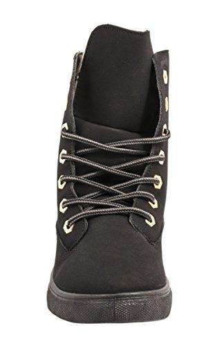 Elara Damen Worker Boots | Bequeme Schnürer Warm Gefüttert | Kunstleder Schwarz