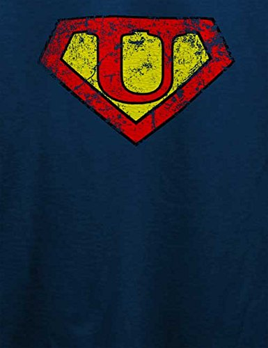 U Buchstabe Logo Vintage T-Shirt Navy Blau