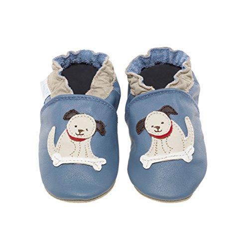 Jack&Lily Originals Scarpina In Pelle Morbidissima Super Divertente E Colorata, Puppy Mid Blue Blu (Puppy Mild Blue)