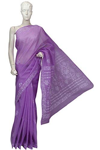 ADA Lakhnawi Chikankari Hand Embroidered Regular Wear Cotton Saree for Women A148629