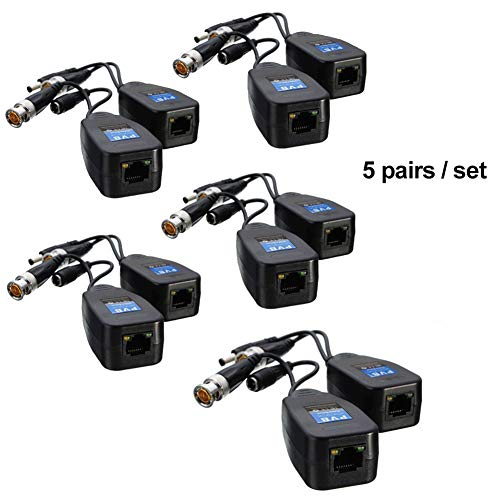 zzJiaCzs Balun Stecker, 10 Stück CCTV Koax BNC Video Power Balun Transceiver auf Cat5e / 6 RJ45 Stecker Mehrfarbig Power Video Balun Hub