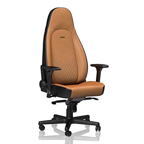 noblechairs ICON Gamingstuhl - Bürostuhl - Schreibtischstuhl - Echtleder - Cognac/Schwarz -
