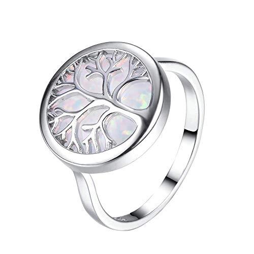 Purmy Frauen Ring Weißes Gold überzogen Weißer Opal Baum des Lebens Versprechen Hochzeit Ring Größe 60 (19.1)