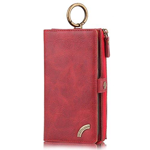 """HARRMS Apple iPhone 6/6s(4,7\"""") Case Leder Handyhülle Handytasche mit Kredit Kartenfächer Geldscheinfach mit Reißverschluss abnehmbar Magnet Handy Schutzhülle,Rot"""
