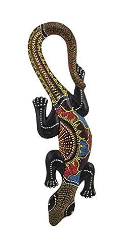 Autochtones Dot Painted Gecko murale en bois à suspendre