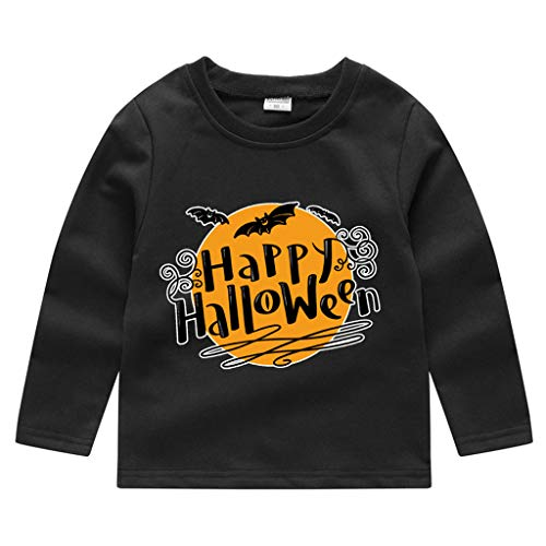 Romantic Kinder Baby Jungen Halloween Kostüme Lange Ärmel Bat/Kürbis/Brief Gedruckt T-Shirt Schickes Kürbis Kostüm Top Sweatshirts für Karneval Party Halloween Fest (Michael Myers Kid Clown Kostüm)