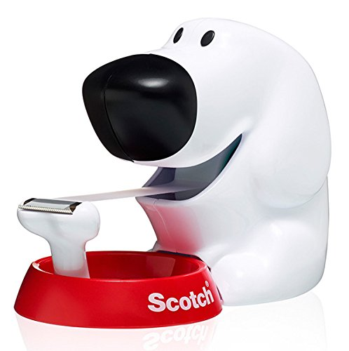 Scotch Dog-810 Handabroller in Hundeform (inkl. 1 Rolle Klebeband, 19 mm x 8,9 m) weiß