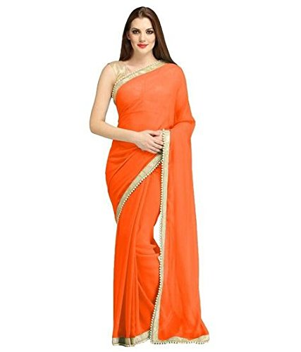 Modential Women's Orange Color Georgette Saree With Blouse Piece.(China Orange)