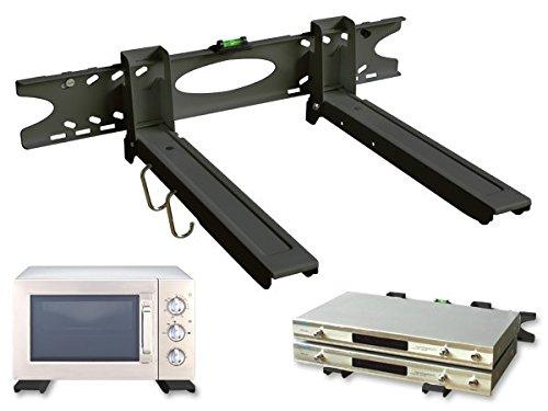 Drall Instruments Mikrowellenhalterung Ausziehbar 32-52 cm - Microwelle Tragkraft 20kg - Halter für Mikrowelle - Grill Mini Backofen Halter inkl. Montagematerial - schwarz Modell: H75B