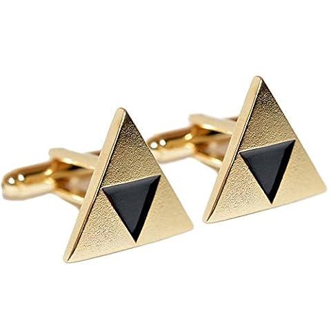 The Legend of Zelda Cufflinks Triforce Gold Plated Black Enamel Costume accessories Cosplay