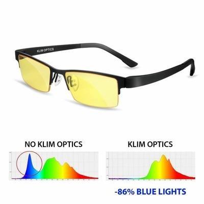 KLIM OPTICS Gafas para bloquear la luz azul NUEVAS – Alta protección para pantalla – Lentes de juego PC Móvil TV – Evita la fatiga ocular Anti UV Anti luz azul – Filtra luces azules