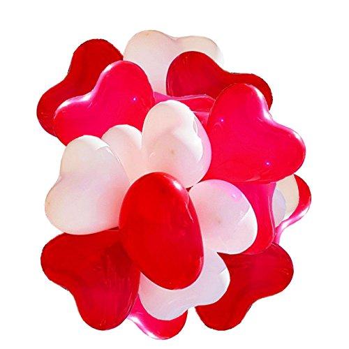 100(.) corazón globos rojo/blanco Circunferencia–ca. 100cm (.)–bienes de calidad–corazón globos para boda, luna de miel, sorpresa, cumpleaños y So On