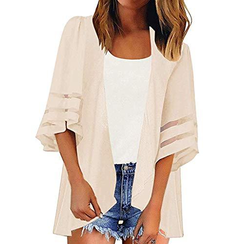2fc11662f4dd LANSKRLSP Donna Manica Corte Cardigan Gilet Blusa Donna Elegante Casual Moda  Camicia Solido Colore Donne Maniche