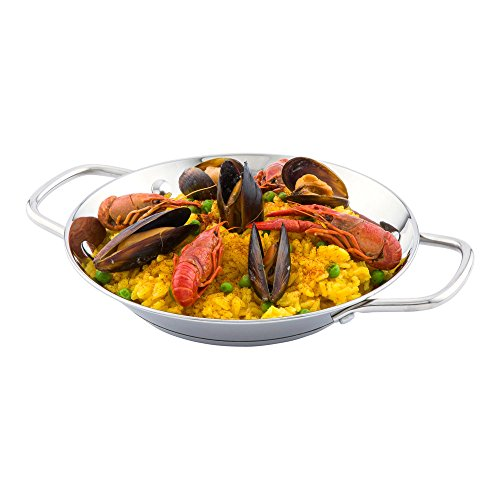 Restaurantware RWT0024 Met Lux 8 Inches Induction Ready Paella Pan Stainless Steel 1 count box, edelstahl