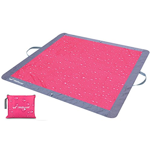 HM&DX Outdoor Wasserdicht Picknickdecken Handtaschen Tragbare Faltbar Leicht Picknickdecke campingdecke Sand-nachweis Stranddecke Frühling Picknick-matte-rot 160x160cm(63x63inch)