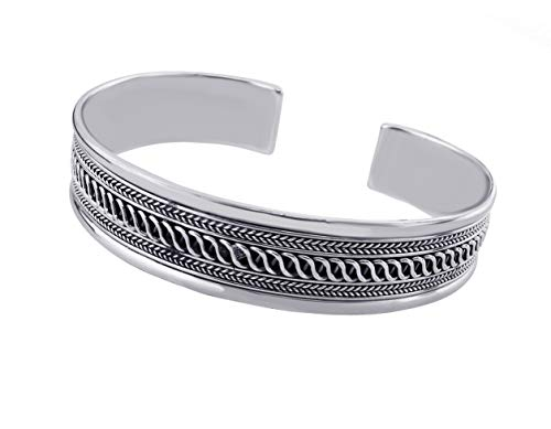 treasurebay Herren Massiv 925 Sterling Silber Armreif eingefasst Braid Design tbs929