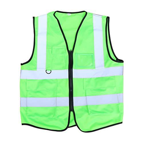 Lioobo giubbotto sicurezza fluorescente riflettente gilet lavoro alta visibilità per l'escursionismo ciclismo