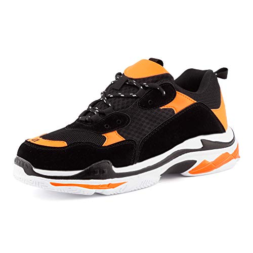 Fusskleidung Damen Herren Sneaker Neon Sportschuhe Plateau Sohle Unisex Freizeit Runners Schuhe Weiß Schwarz Orange EU 45