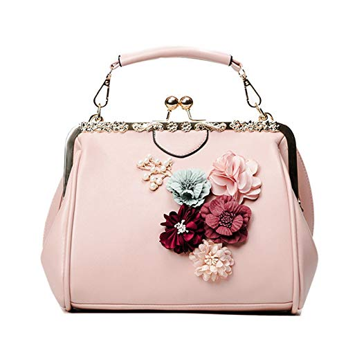 GMYANDJB Cute Flowers Gold Metal Frame Handbags 3D Floral Elegant Lady Clutch Leather Crossbody Bag for Women Hasp Shell Small Purse