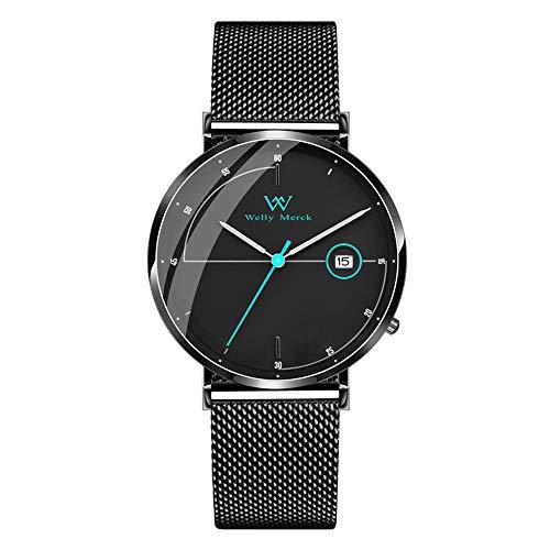 Welly Merck Herren Analog Uhren Schweizer Quarzwerk Mit Schwarz Edelstahl Armbänder (schwarz)