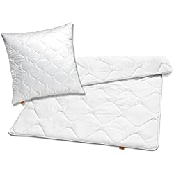 sleepling 192808 Bettwaren-Set Basic 140 Kopfkissen 80 x 80 cm + Winter Decke 155 x 220 cm Mikrofaser warm, weiß