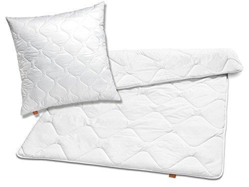 sleepling 192805 Bettwaren-Set Basic 120 Kopfkissen 80 x 80 cm + Ganzjahresdecke 135 x 200 cm Mikrofaser medium, weiß