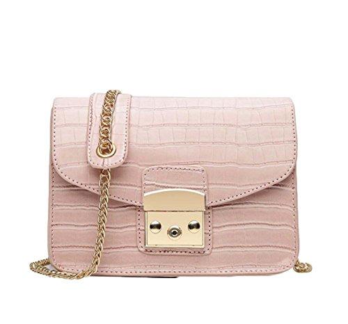 Mini Fashion Chain Bag Uniform Umhängetasche Messenger Bag Lock Kleine Square Bag Einfach Pink