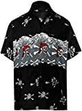 LA LEELA Shirt Camicia Hawaiana Uomo XS - 5XL Manica Corta Hawaii Tasca-Frontale Stampa Hawaiano Casuale Regular Fit Grigio1115 XL