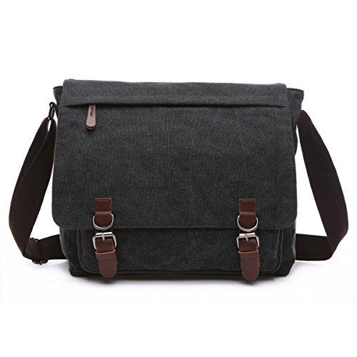 BAOSHA MS-08 Canvas Umhängetasche Schultertasche 15 Zoll Computer Laptop Tasche Crossbody Messenger Bag für Arbeit Uni Reise Sport (Schwarz)