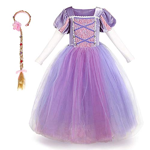 Tangled Disney Kostüm - Mädchen Cosplay Kleid Rapunzel Prinzessin Kostüm Kinder Grimms Karneval Tangled Partykleid Halloween Festival Fotoshooting Magie Faschingskostüm Festkleid Fancy Dress Up Lila+Haarband (2PCS) 3-4 Jahre