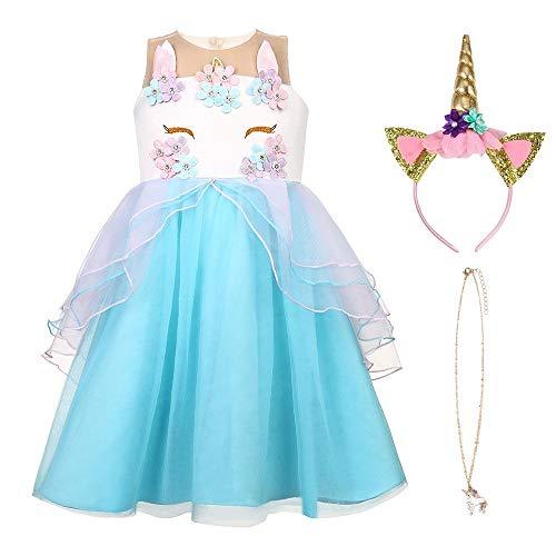 URAQT Eiskönigin Prinzessin Kostüm Kinder Glanz Kleid Mädchen Weihnachten Verkleidung Karneval Party Halloween Fest, Blau 120CM