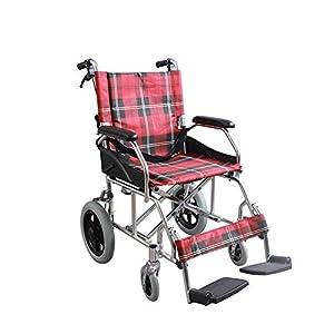QQ_SUN Wheelchair Foldable Height Adjustable Aluminum Manual Light Portable Wheelchair Anti-Skid Pedal