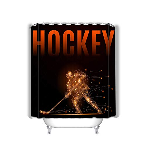 Xunulyn Shower Curtain Set with 12 Hooks Floral Bath Curtain Thick Fabric Bathroom Curtains Home Decorations for Bathroom 60x72 INCH Hockey Player Poly Slides Ice Stick Geometric abst (Stick Ice 60 Hockey)