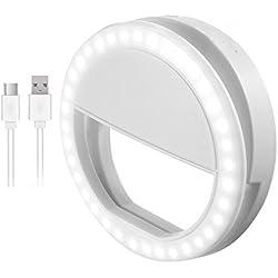 Selfie Ring Light, Anneaux Lumineux de Selfie avec lumière LED pour caméra, Rechargeable 36 LED comble-lumière, 3 Niveaux de luminosité réglable Lumière vidéo, Lumière de Nuit pour Smartphone