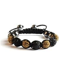 Bracelet shamballa 7 Perles Strass alternées + 6 Hématites